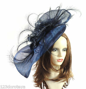 Image is loading Extra-Large-Navy-Blue-Fascinator-for-Ascot-Weddings- 258b47c4ff7
