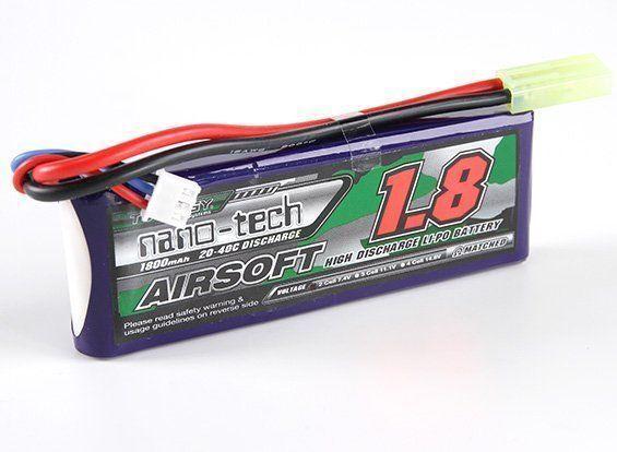 BATTERIA TURNIGY NANO-TECH 1800 MAH 2S 20-40C LIPO 7.4 V AIRSOFT SOFT AIR