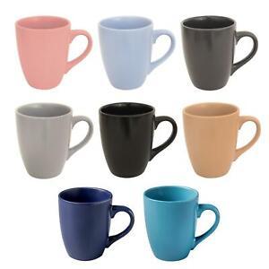 Details about Stoneware 12oz Tea Mugs Coffee Cups Set Of 4 Matt Colour Grey Blue Pink Black