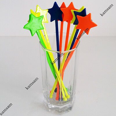 Colorful star drink stirrer cocktail swizzle stir stick party bar wedding