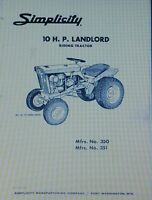 Simplicity Landlord Tractor, Plow & Snow Thrower Owner & Parts (3 Manuals) 42pg