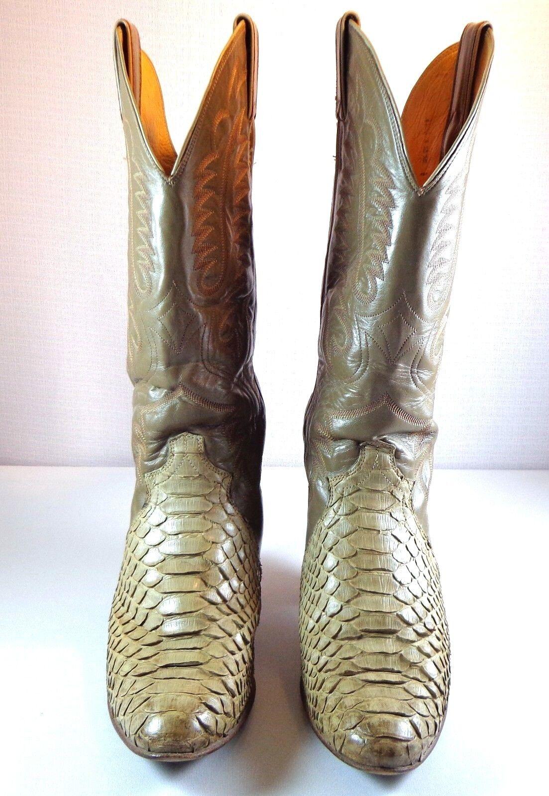 Justin botas para Mujer Python Serpiente Vaquero Dos Tonos Talla Talla Talla 8 B Hecho en EE. UU.  moda