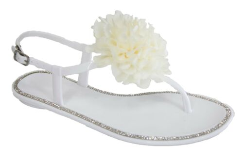 Jelly Flat T-bar Sandals Flower Diamante Ankle Strap Fancy Summer Shoes Womens