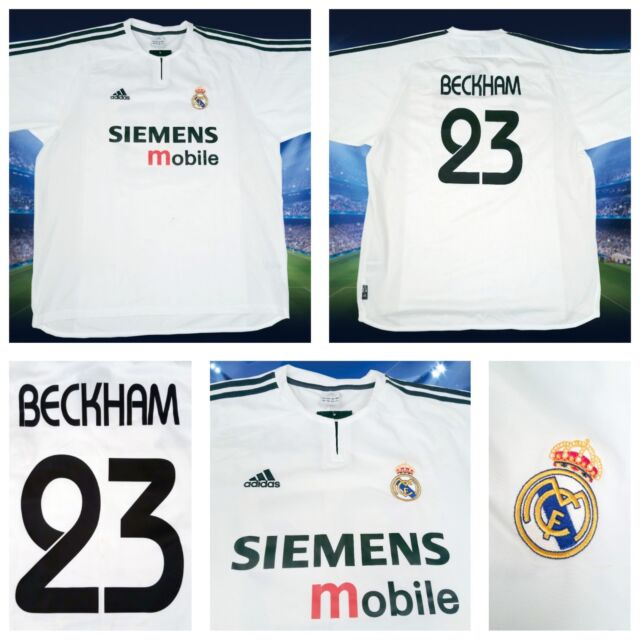 new york ee50e 07a85 Mens adidas David Beckham Real Madrid White Jersey Shirt 23 Siemens Mobile  Sz XL