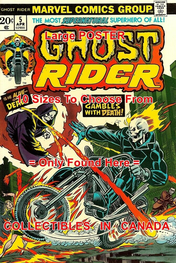 GHOST RIDER 1974 Motorcycle FIRE Roulette = POSTER Not Comic Book 18  - 4.5 FEET