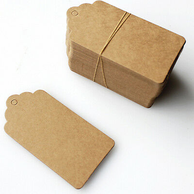 100pcs BLANK Brown Kraft Paper Hang Tags w/String Punch Label Price Gift CardsTS