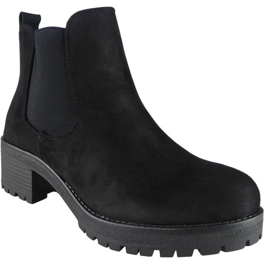 Womens Ladies Chunky Mid Heel Platform Zip Work Chelsea Ankle Boots Shoes Size