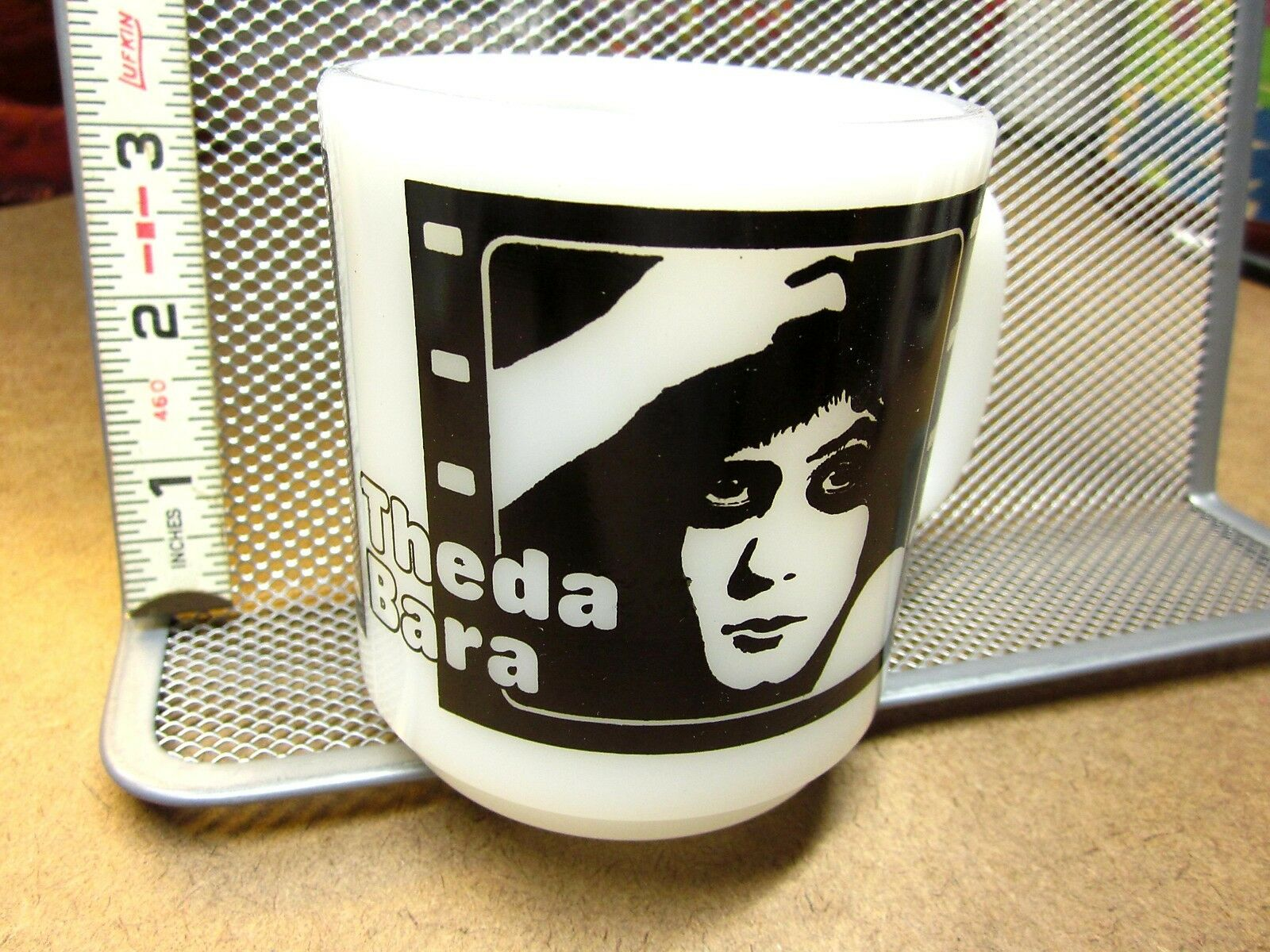 THEDA BARA blanc glass vtg mug PEARL blanc film-strip cup 1950s Hollywood