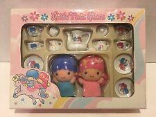 Little Twin Stars Porcelain Tea Set w/Kiki & Lala Mini Dolls~Brand New & Sealed