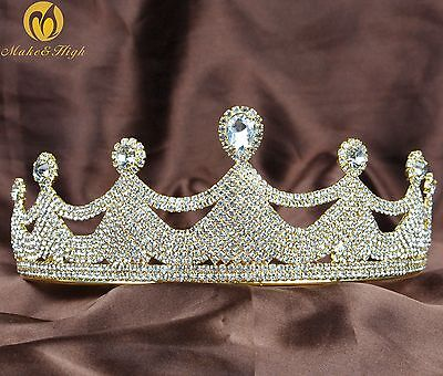 Girl Tiara Crown Gold Plating Headpiece Clear Rhinestones Wedding Pageant Party