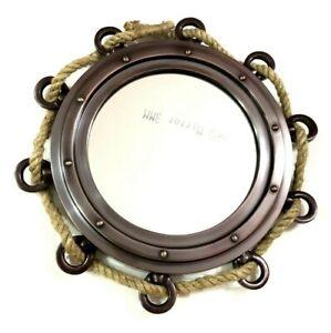 Aluminum Porthole Jute Rope Window Boat Port Hole Round Mirror Home Wall Decor