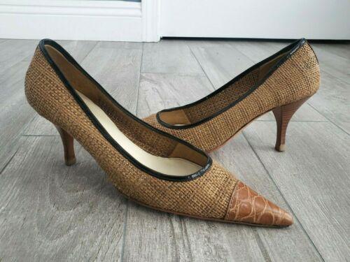 PRADA woven raffia straw pointy toes croc print le
