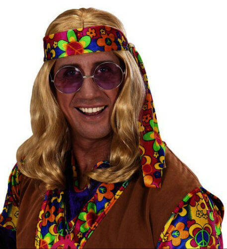 Largo black//brown//blonde John Lennon Peluca Beatles 60s 70s Fancy Dress Hippy Flor