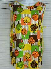 Vintage 70'S Orange & Yellow Patchwork Style Full Bib Apron Smock Retro Kitschy