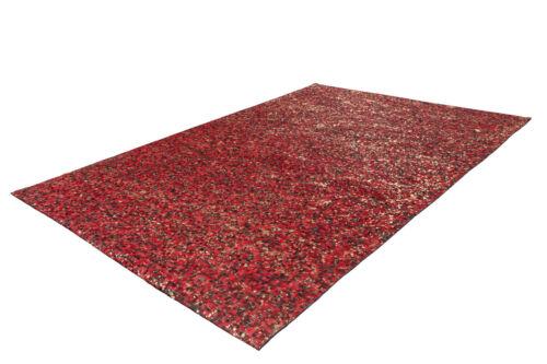 Leder Teppich Patchwork Kästchen Silber Glanz Modern Rot Gold 80X150cm