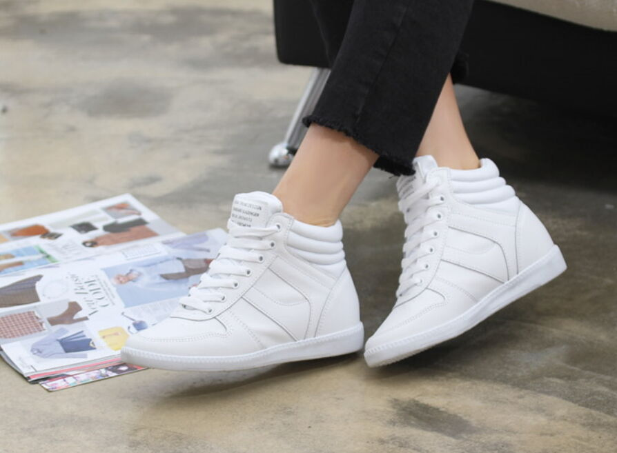 New Womens Casual High Tops High Heels Hidden Wedges shoes Lace Up Sneakers