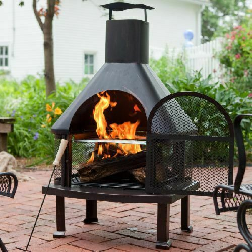 Outdoor Fireplace Fire Pit Wood Burning Chiminea Cooking ...