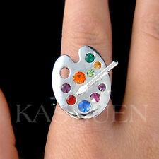 w Swarovski Crystal Rainbow Color Paint Palette Artist Brush Adjustable Ring New