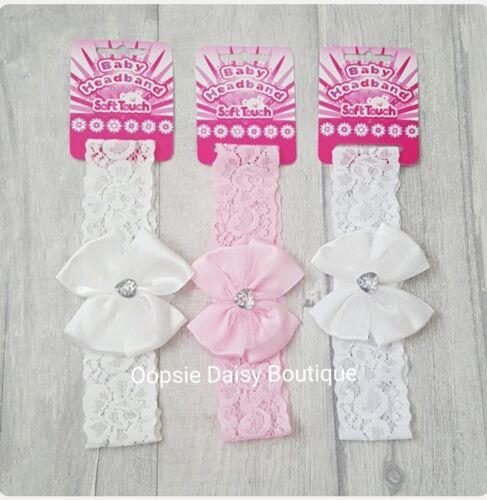 Beautiful Lace /& Diamante Baby Girls Headbands White Pink Cream//Ivory