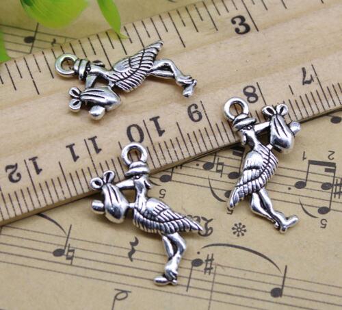 Wholesale Lot Retro Bird Egret Alloy Charm Pendants Jewelry Making DIY 23*18mm