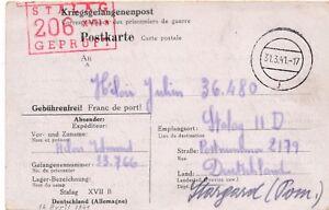 Carte-Stalag-VII-B-Gneixendorf-b-Krems-a-d-Donau-Brief-Germany-WWI