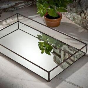 Glass Jewelry Tray Mirror Bottom Vanity Dresser Perfume Tray