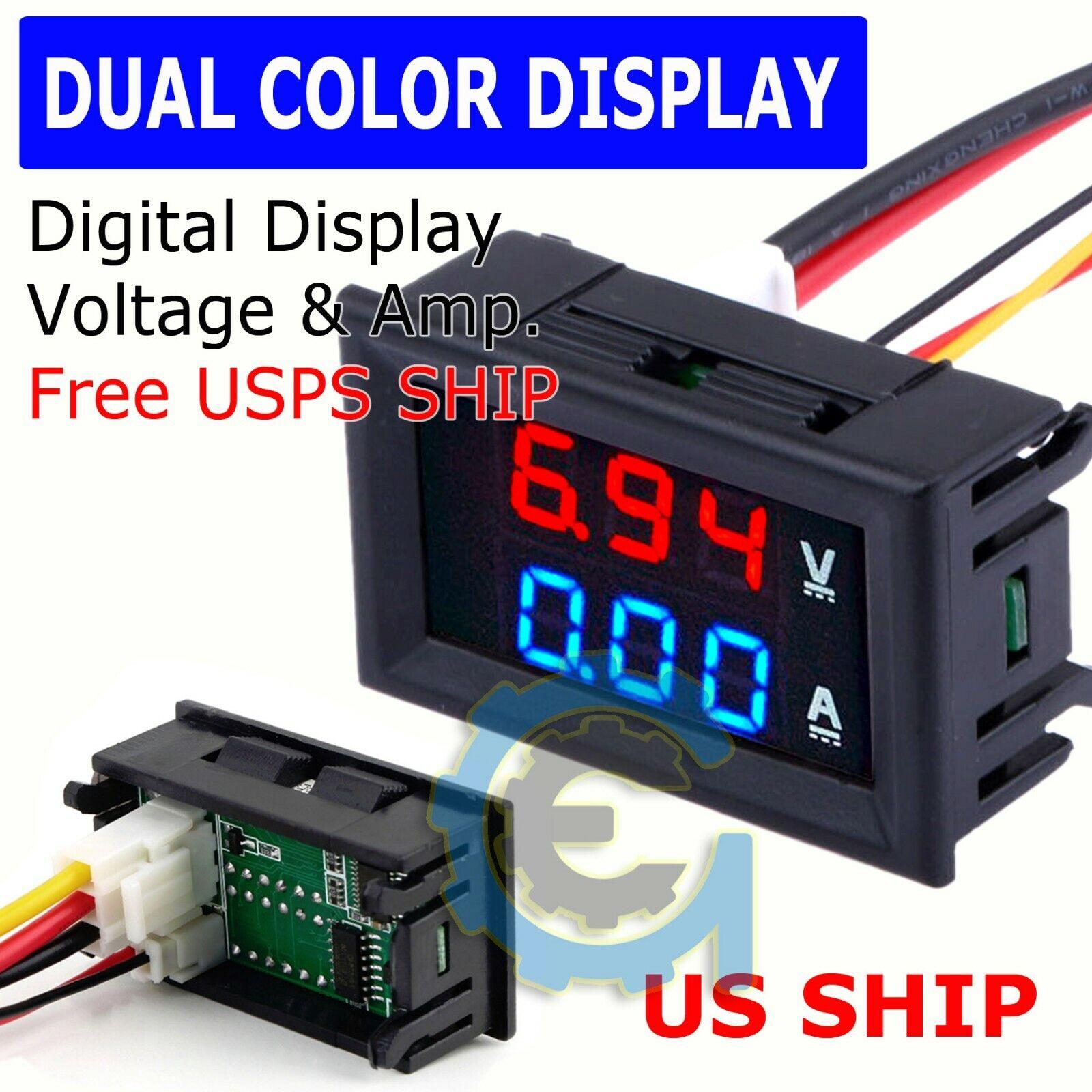Fltaheroo 3pcs LED Digital 0-100V 10A Voltage Amp Volt Meter Panel Dual Voltmeter Ammeter Tester