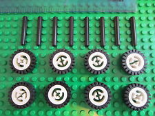 8 x Lego White Wheels all with Black Rubber Tyres + 8 Axles - also Black or Grey