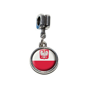 Flag of Poland with Coat of Arms Euro European Italian Style Bracelet Bead Charm