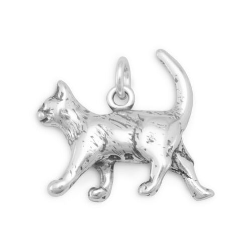 Cat Charm Sterling Silver Walking Animal Pendant 3d Pet Kitty