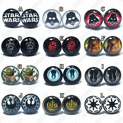 STAR WARS Stainless Steel Stud Earrings Pair - Mens Womens - Darth Vader Yoda