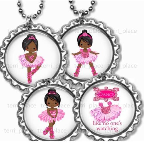 "Ballet Dance Girls Kids Bottle Cap Necklace 24/"" Chain African American Girls"