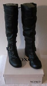NIB XOXO March Womens Back Lace-Up Detail Knee High Boots Black MSRP