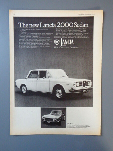2019 Mode R&l Vintage Ex Magazine Advert: Lancia 2000 Sedan Saloon 1971