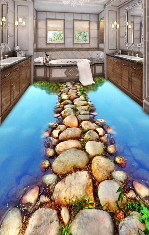3D Stone Path River 23 Floor Wall Paper Wall Print Decal Wall Deco AJ WALLPAPER