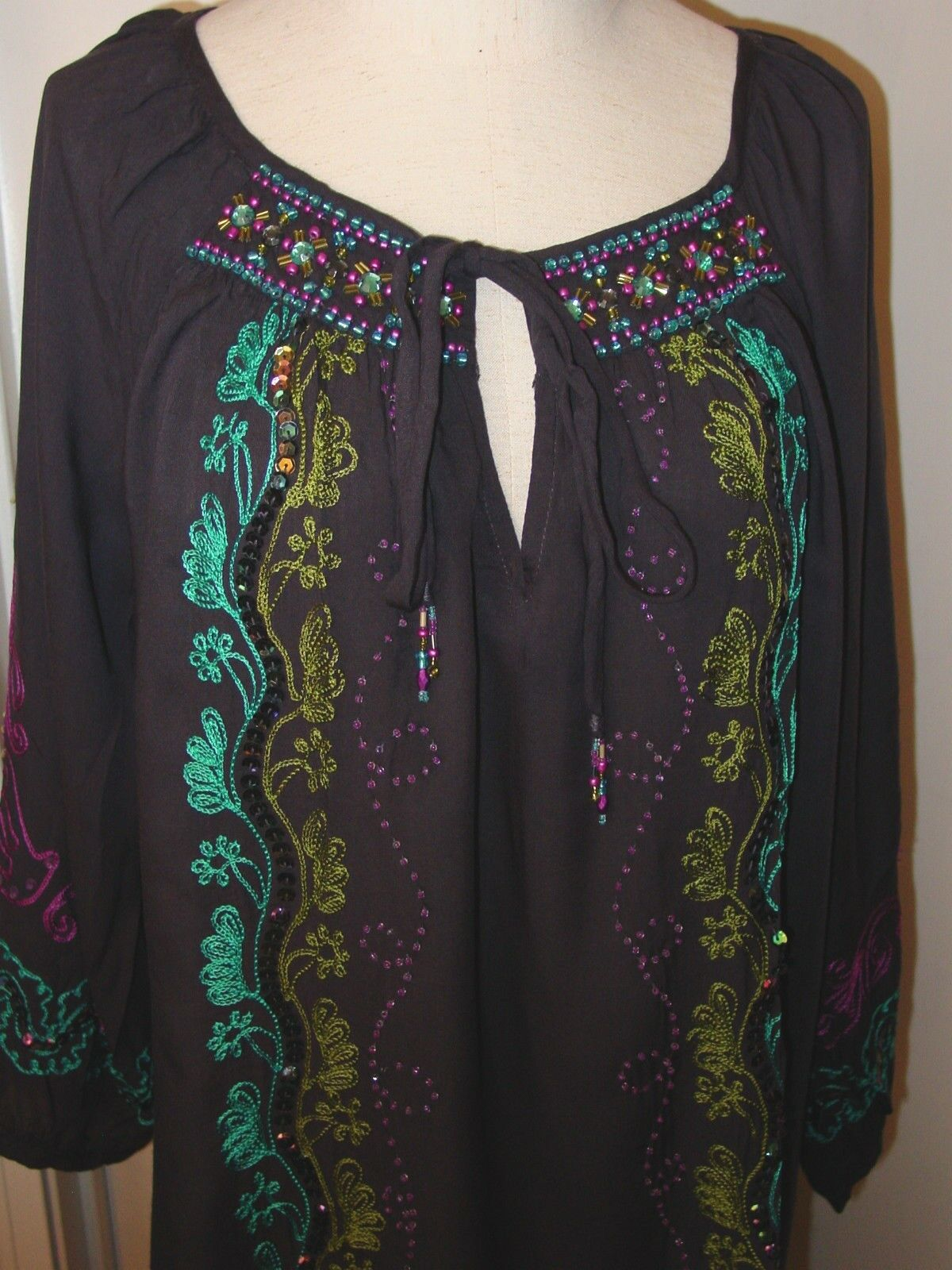 Women's Top Blouse Dark Purple Peasant Krista Lee Ginkgo Collection Embroidered