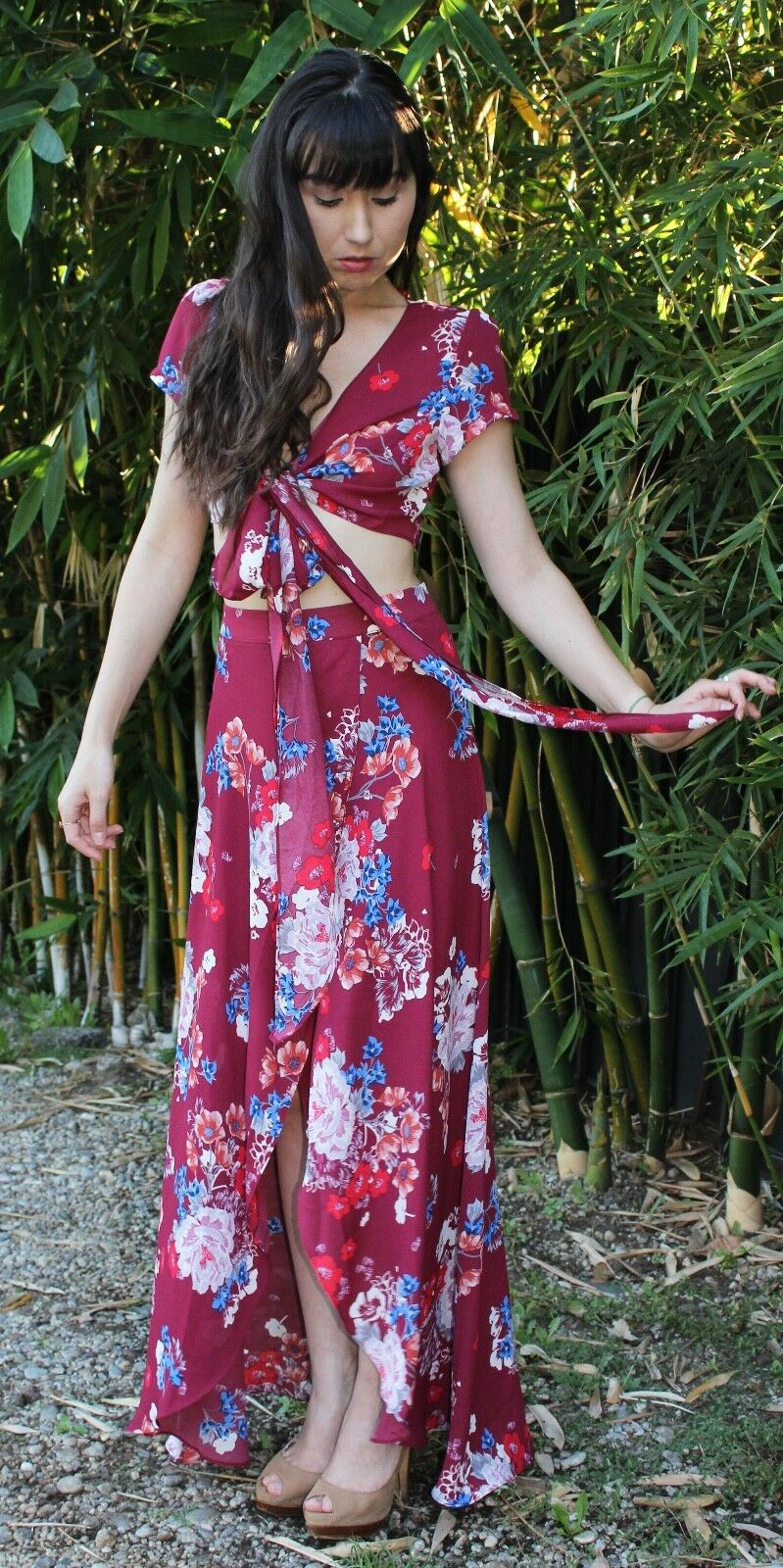 Floral Crop Top Maxi Skirt Dress Set   Wine rot Short Sleeve S M L CTP8312