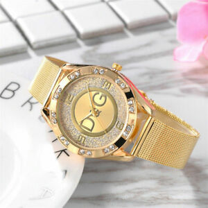 UNISEX-GOLD-STAINLESS-STEEL-D-G-WATCH-WITH-WHITE-CRYSTAL-SAPPHIRES