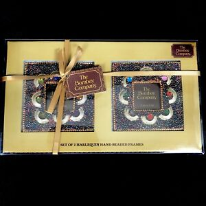 BOMBAY-COMPANY-Photo-Frames-Harlequin-Hand-Beaded-Set-of-2-BRAND-NEW-2X2-Pics