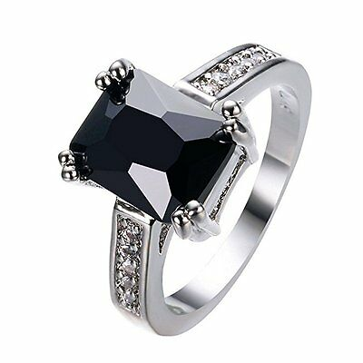Charming Women 925 Silver Black Onyx Ring WeddingEngagement Jewelry Size 5-12