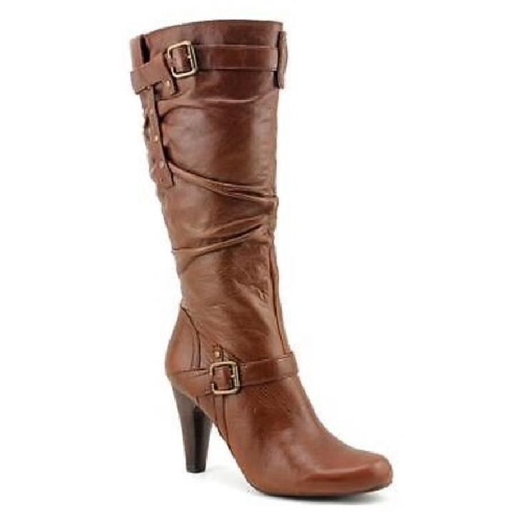 New in Box Guess Panoa Mid High Boots Heels Pumps Shoes Brown 7.5 Leather