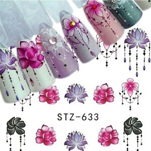 Nail-Art-Water-Decals-Stickers-Transfers-Spring-Flowers-Floral-Petals-Gems-633