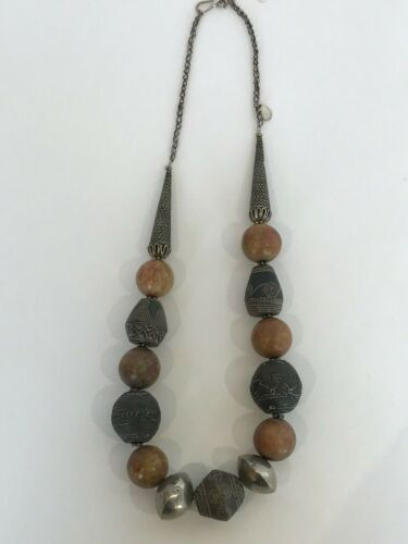 African Big Beaded  African Spindle Whorls Necklac