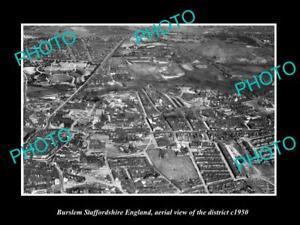 OLD-LARGE-HISTORIC-PHOTO-BURSLEM-STAFFORDSHIRE-ENGLAND-DISTRICT-AERIAL-c1950
