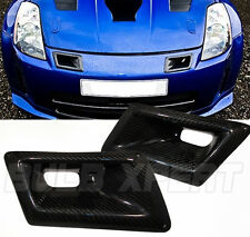 FITS 03-08 NISSAN 350Z Z33 CARBON FIBER FRONT JDM INTAKE DUAL AIR DUCT COVER 2PC
