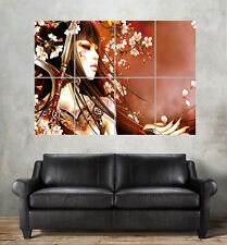 Geisha Asiatisch Blume Wand Kunst Plakat groß format A0 groß Druck