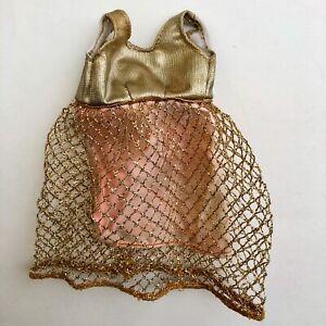 Vintage-Barbie-Francie-GOLD-RUSH-1222-Dress-Gold-Lame-Cage-Dress