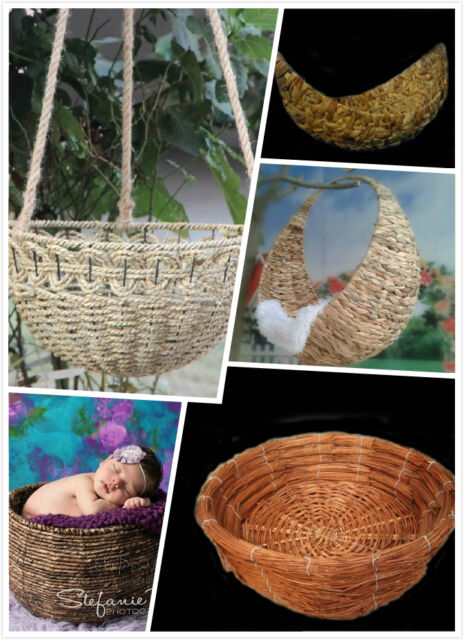 Different Creative Photography Prop Handmade Woven Basket for Newborn Baby