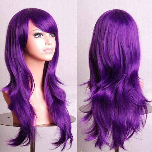 "Long Purple Wig Wavy Hair Wig with Curls Mardi Gras Wig 28/"""