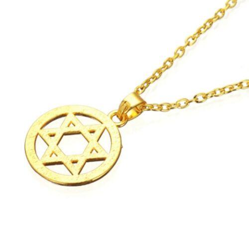 Gold plated Star Of David Judaica Jewish Hanukkah Israel Pendant Chain Necklace